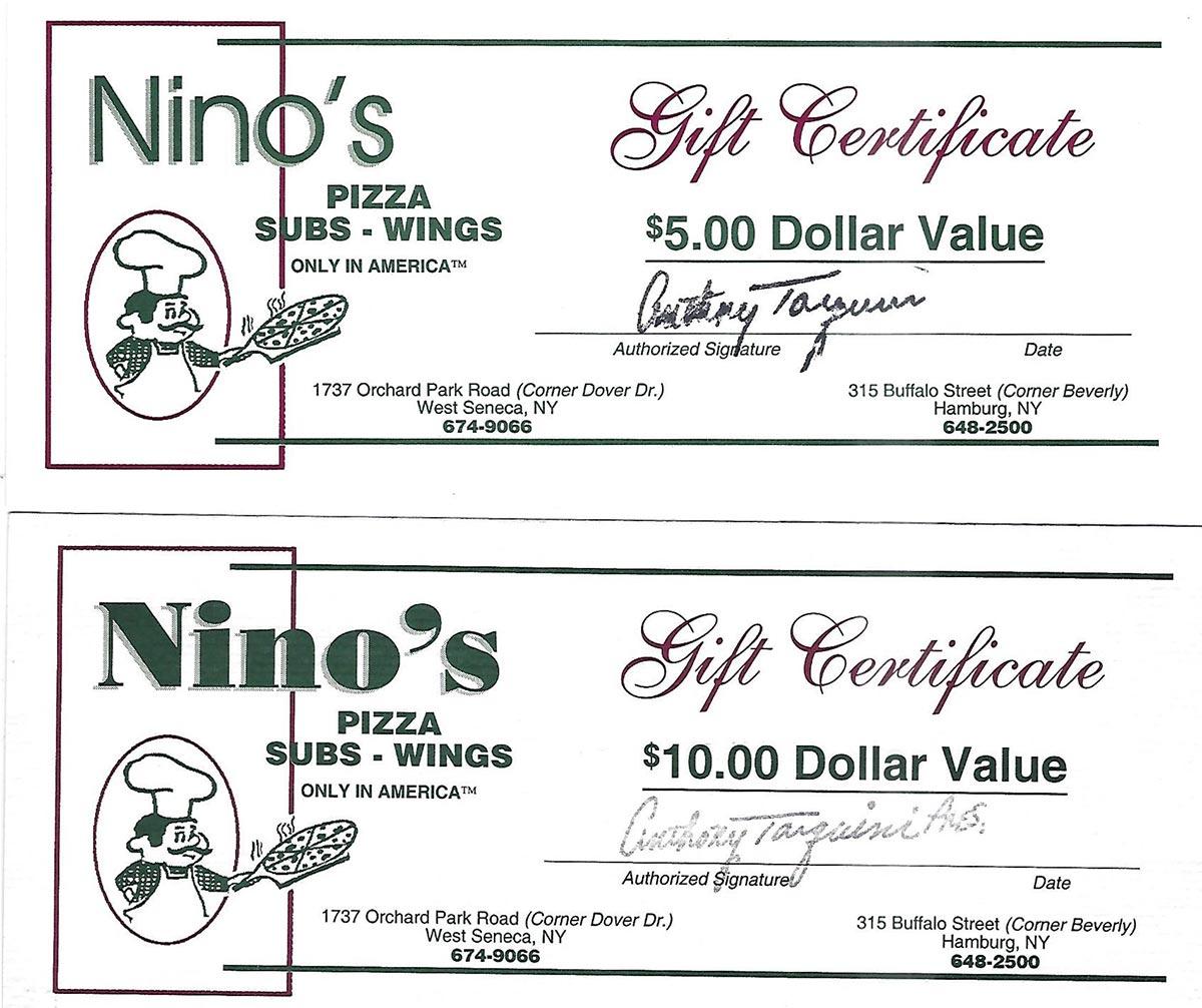 Gift Certificate News Nino S Pizza